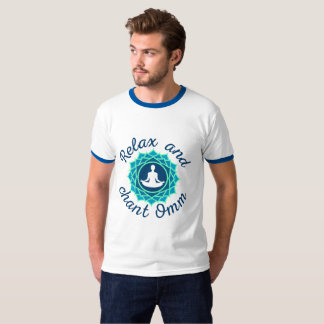 "Men's T-Shirt with Azure Mandala and ""Relax and Ch"