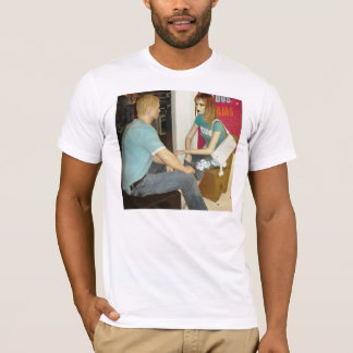 Mens' T-shirts with mannequins face-to-face