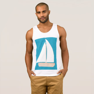 Men's Tank Top with Sailboat Design