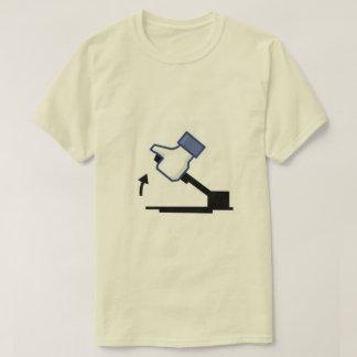Men's tee shirt with thumbs up logo on handbrake