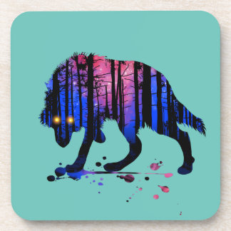 Mens Teen Boys Wolf Galaxy Star Forest Silhouette Coaster