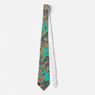 Mens Tie Teal Abstract Print