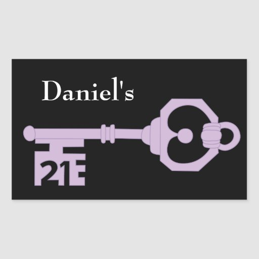 Mens Vector 21st Birthday Party Key Tag Sticker