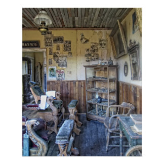Men's Victorian Barber Shop Interior Print