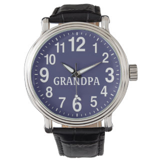 Mens Watch Blue Face Leather Band for GRANDPA