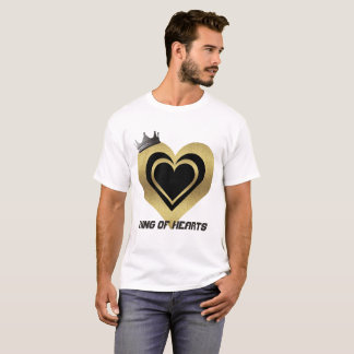 Men's White Black &Gold King Of Hearts T-Shirt