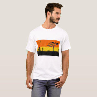 mens white t shirt with African sunset design
