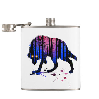 Mens Wolf Galaxy Star Forest Silhouette Flask