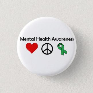 Mental Health Awareness - Love, Peace, Awareness 3 Cm Round Badge