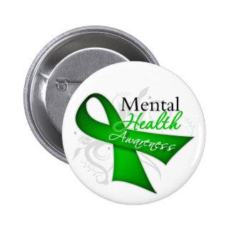 Mental Health Awareness Ribbon 6 Cm Round Badge