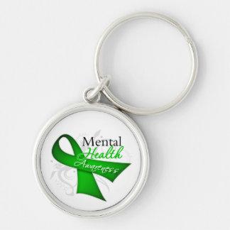 Mental Health Awareness Ribbon Silver-Colored Round Key Ring