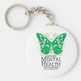 Mental Health Butterfly Basic Round Button Key Ring