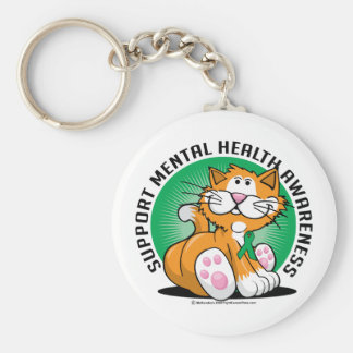 Mental Health Cat Basic Round Button Key Ring