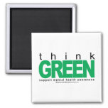 Mental Health Think Green Square Magnet