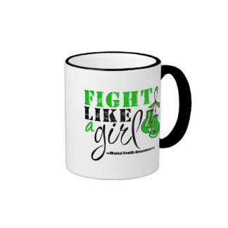 Mental Heatlh Awareness Fight Like a Girl Ringer Mug