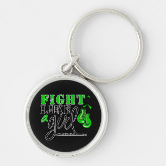 Mental Heatlh Awareness Fight Like a Girl Silver-Colored Round Key Ring