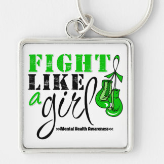 Mental Heatlh Awareness Fight Like a Girl Silver-Colored Square Key Ring