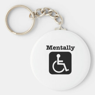 Mentally disabled. basic round button key ring