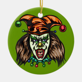 Mentally Unstable Evil Clown Round Ceramic Decoration