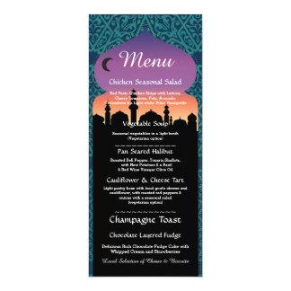 Menu Arabian Nights Party Teal Wedding Reception Card