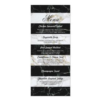 Menu Black & White Marble Wedding Reception Card