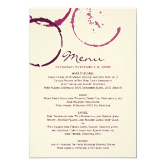 Menu Cards | Wine Stain Rings 13 Cm X 18 Cm Invitation Card