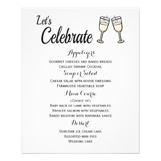 Menu Champagne Glasses Black And White Wedding