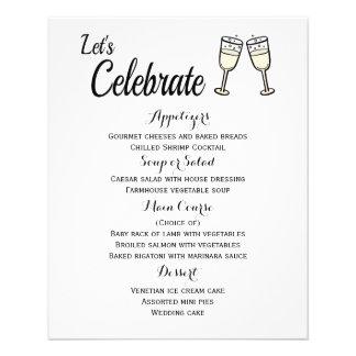 Menu Champagne Glasses Black And White Wedding 11.5 Cm X 14 Cm Flyer