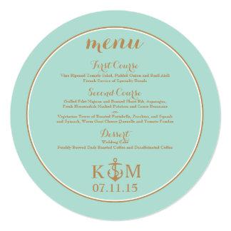 Menu - Circle - Mint and Gold - Nautical Card