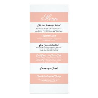 Menu Floral Coral White Elegant Wedding Reception Card
