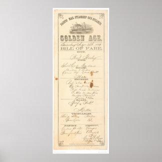 "Menu for Steamer ""Golden Age"" (1276A) Poster"