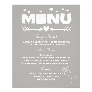 Menu Gray & White Hearts & Butterfly Wedding Party 11.5 Cm X 14 Cm Flyer