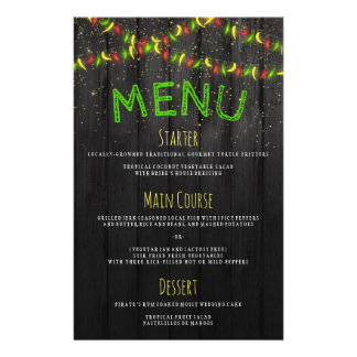 Menu Rustic Caribbean Hot Peppers String Lights 14 Cm X 21.5 Cm Flyer