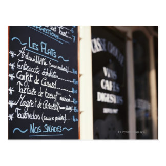 Menu Sign Outside a Cafe in Bordeaux, France Postcard