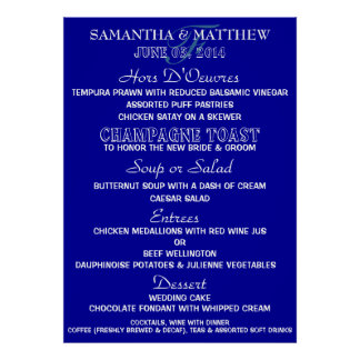 Menu template PERSONALIZE Large navy white Poster