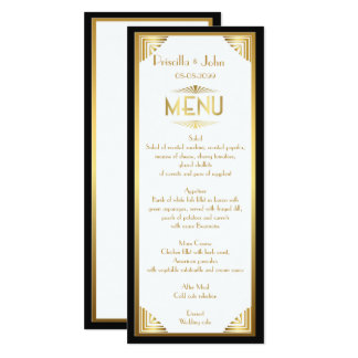 Menu Wedding,menu meeting,great Gatsby,white,gold Card