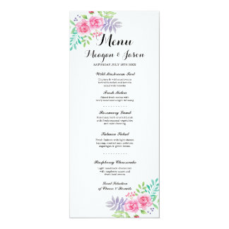 Menu Wedding Reception Elegant Floral Rose Cards