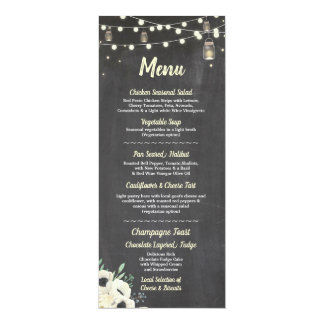 Menu Wedding Reception Fireflies Jars Chalk Cards