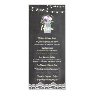 Menu Wedding Reception Floral Jar Chalk Lace Cards
