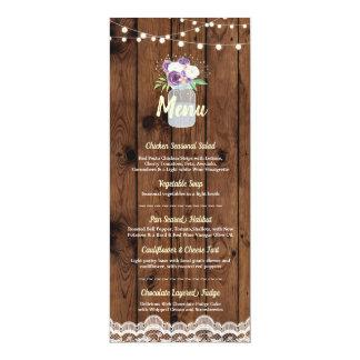 Menu Wedding Reception Floral Jar Wood Lace Cards