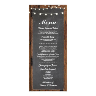 Menu Wedding Reception Rustic Wood Chalk Card