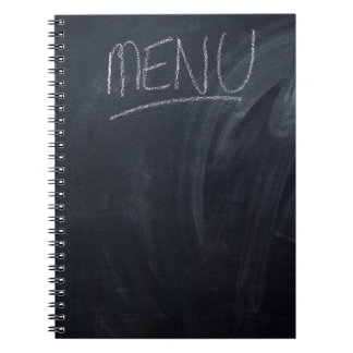 Menu written on a chalk board with space for text spiral notebook