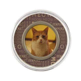 Meow Brown Pattern Add Your Own Cat Photo Lapel Pin