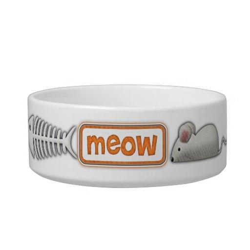 Meow cat dish pet food bowl
