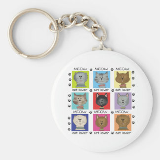 Meow Cat Lover Basic Round Button Key Ring