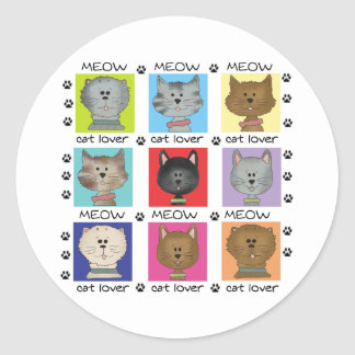 Meow Cat Lover Round Stickers