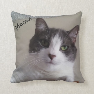 Meow Cute Cat Picture Throw Pillow