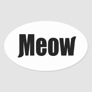 Meow decal oval sticker