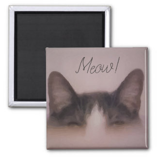 Meow Funny Kitty Cat Ears Design Magnet