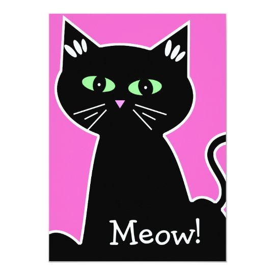 Meow! Green Eyed Black Cat Bachelorette Party Card